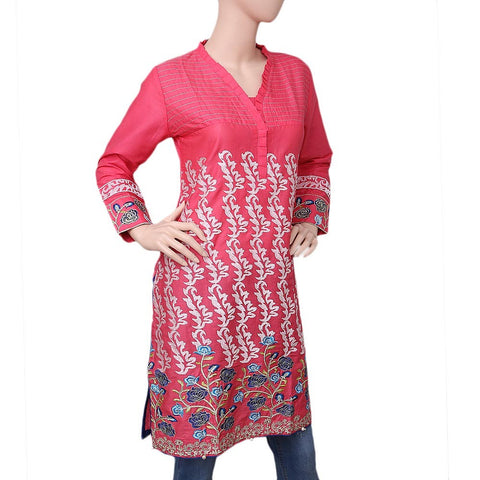 Women's Embroidered Cotton Kurti - Pink - test-store-for-chase-value