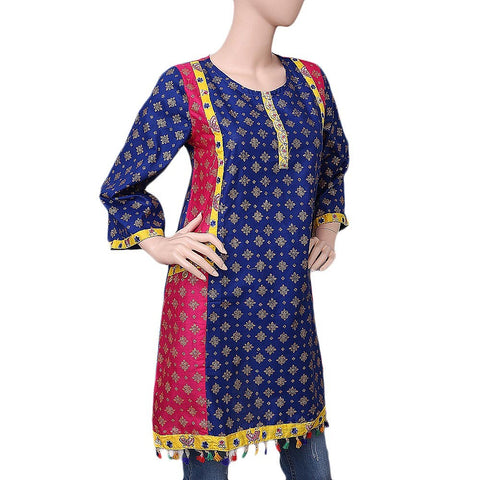 Women's Printed Kurti - Blue - test-store-for-chase-value