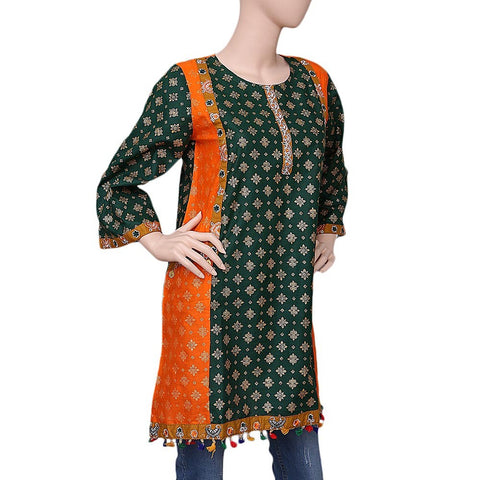 Women's Printed Kurti - Green - test-store-for-chase-value