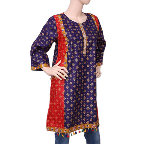 Women's Printed Kurti - Purple - test-store-for-chase-value