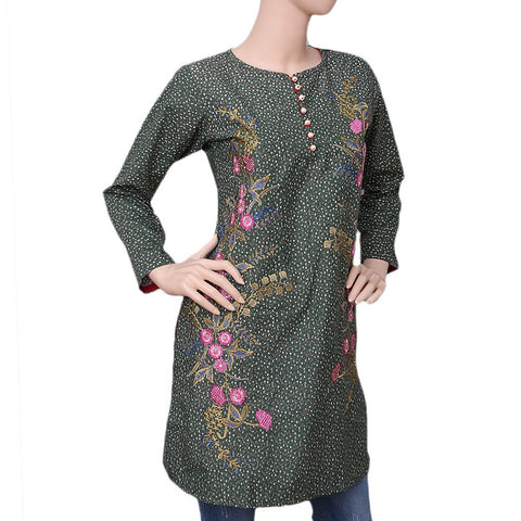 Women's Embroidered Cotton Kurti - Green - test-store-for-chase-value