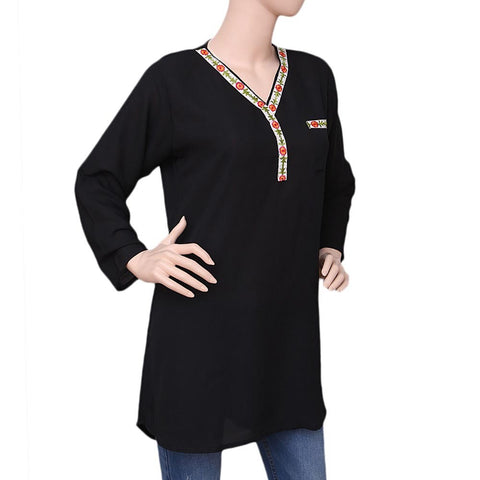 Women's Georgette Embroidered Top - Black - test-store-for-chase-value