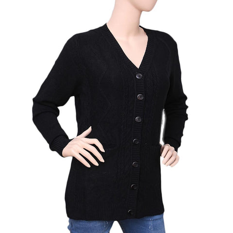 Women's Long Full Sleeves Sweater - Black - test-store-for-chase-value