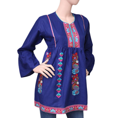 Women's Embroidered Short Kurti - Blue - test-store-for-chase-value