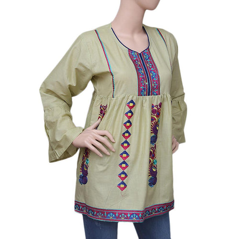 Women's Embroidered Short Kurti - Light Green - test-store-for-chase-value
