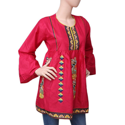 Women's Embroidered Short Kurti - Dark Pink - test-store-for-chase-value