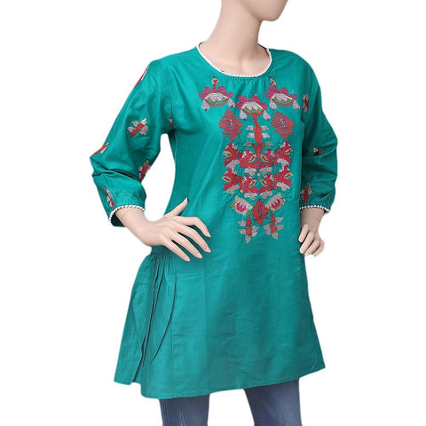 Women's Embroidered Short Kurti - Green - test-store-for-chase-value