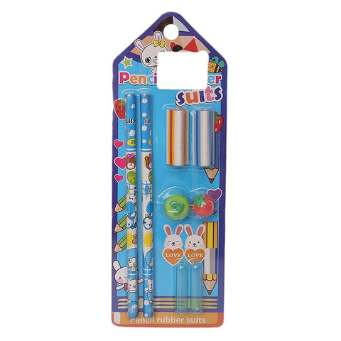Pencil & Rubber Stationery Set - Blue - test-store-for-chase-value