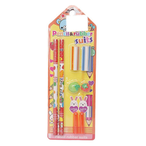 Pencil & Rubber Stationery Set - Yellow - test-store-for-chase-value