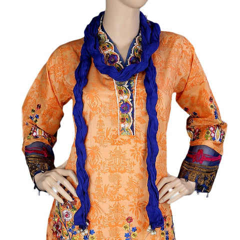 Women's Fancy Embroidered 3 Piece Stitched Suit - Orange - test-store-for-chase-value