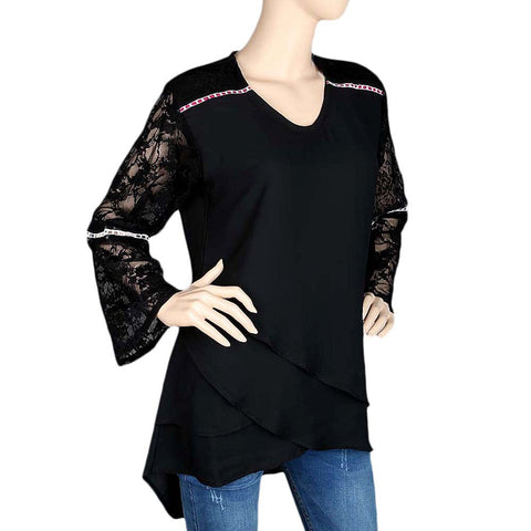 Women's Fancy Georgette Top - Black - test-store-for-chase-value