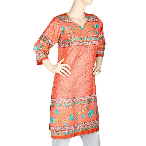 Women's Printed Cotton Kurti - Peach - test-store-for-chase-value