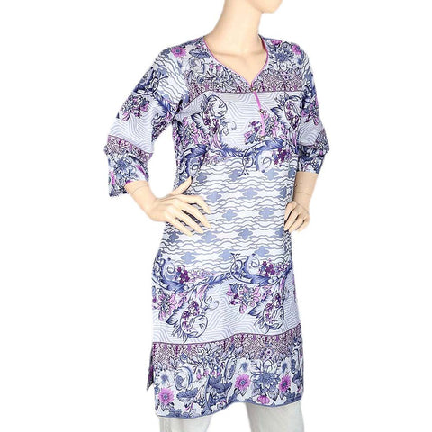 Women's Printed Cotton Kurti - Purple - test-store-for-chase-value