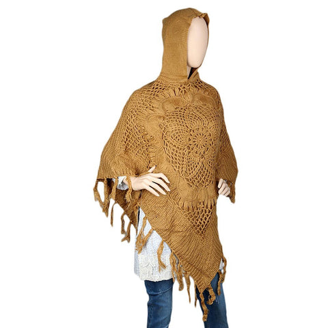 Women's Poncho Hooded Sweater - Light Brown - test-store-for-chase-value