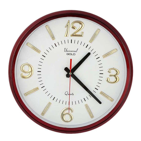 Analog Wall Clock 1103-F - White & Maroon - test-store-for-chase-value