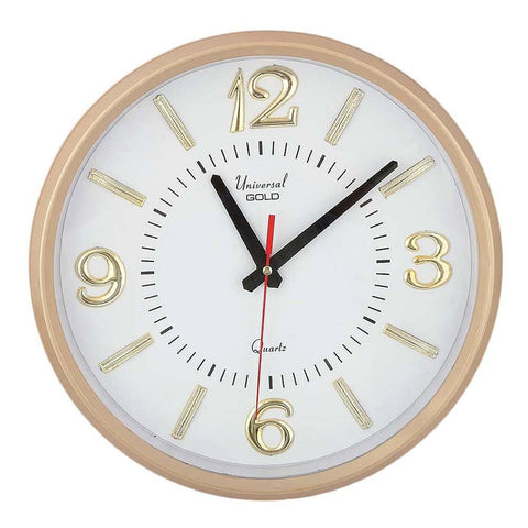 Analog Wall Clock 1103-F - White & Gold - test-store-for-chase-value