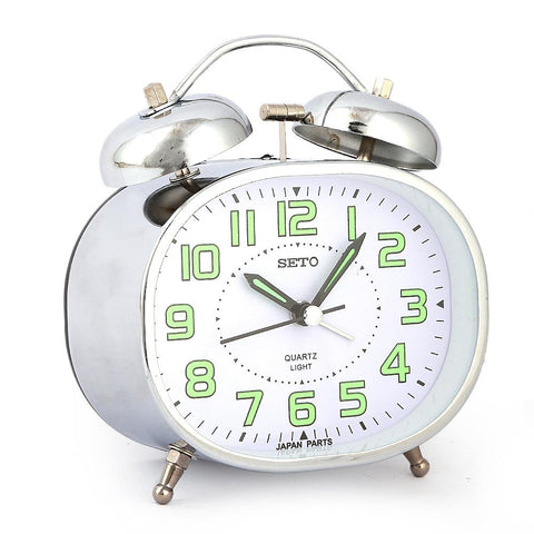 Twin Bell Alarm Table Clock - Silver - test-store-for-chase-value