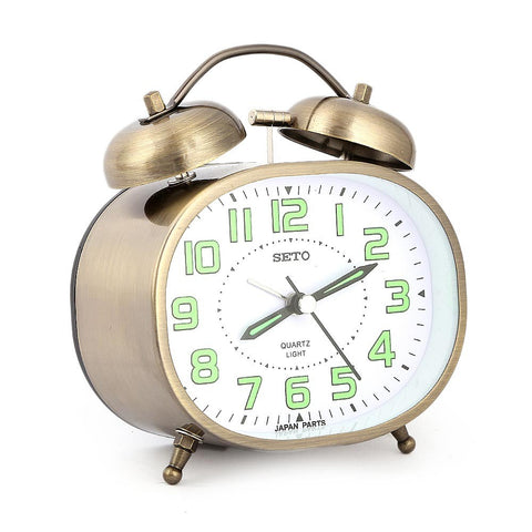 Twin Bell Alarm Table Clock - Light Grey - test-store-for-chase-value