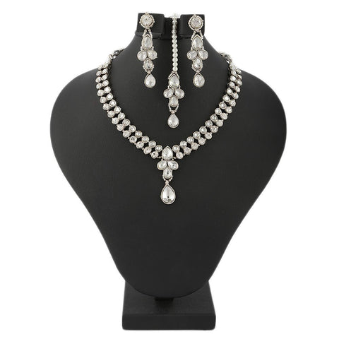 Women's Kundan Jewellery Set - Silver - test-store-for-chase-value