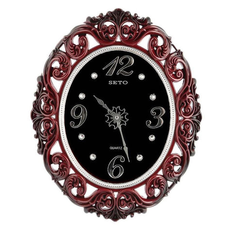 Analog Fancy Wall Clock 1024 - Maroon & Black - test-store-for-chase-value