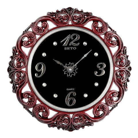 Analog Fancy Wall Clock 1023 - Maroon & Black - test-store-for-chase-value