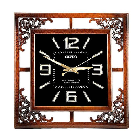 Analog Fancy Wall Clock 136 - Brown & Black - test-store-for-chase-value
