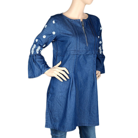 Women's Embroidered Kurti - Blue - test-store-for-chase-value