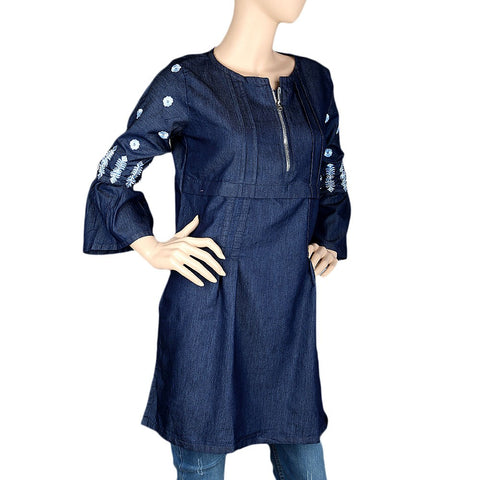 Women's Embroidered Kurti - Dark Blue - test-store-for-chase-value