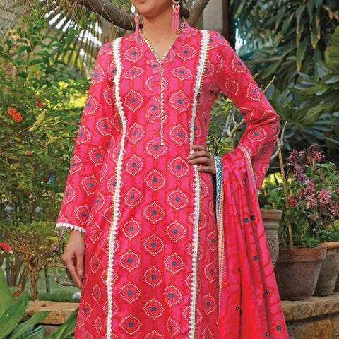 VS Signature Printed Lawn 3 Piece Un-Stitched Suit Vol 2 - 17 A