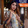 Three Star Printed Lawn 3 Piece Un-Stitched Suit Vol 1 - 9 B