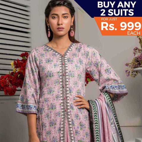 Rangreza Printed Lawn 3 Piece Un-Stitched Suit Vol-06 ZS - 06