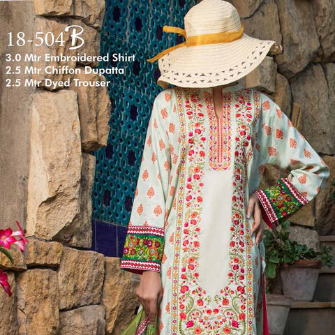 Ayesha Alishba Cambric Embroidered 3 Piece Un-Stitched Cotton Suit - 504-B