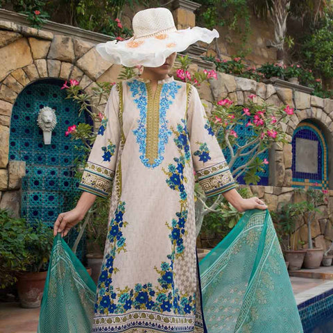Ayesha Alishba Cambric Embroidered 3 Piece Un-Stitched Cotton Suit - 506-A