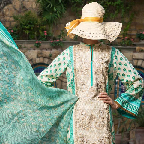 Ayesha Alishba Cambric Embroidered 3 Piece Un-Stitched Cotton Suit - 507-A