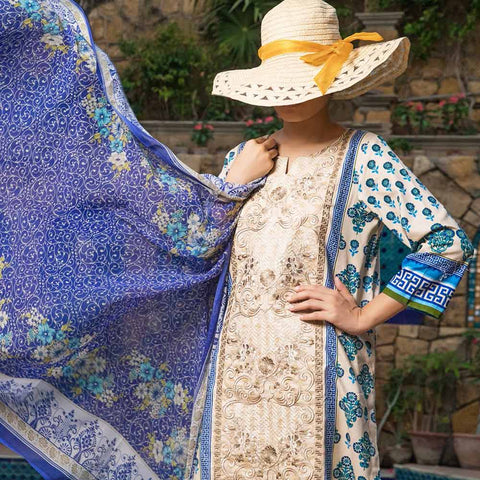 Ayesha Alishba Cambric Embroidered 3 Piece Un-Stitched Cotton Suit - 507-B
