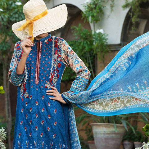 Ayesha Alishba Cambric Embroidered 3 Piece Un-Stitched Cotton Suit - 508-B