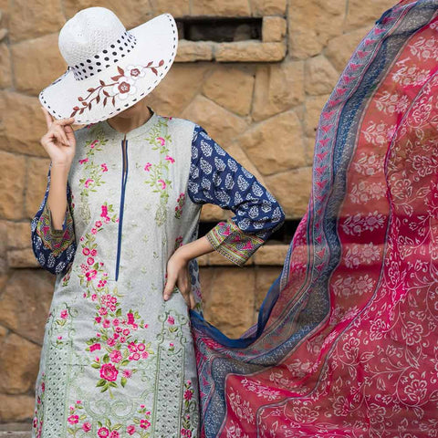 Ayesha Alishba Cambric Embroidered 3 Piece Un-Stitched Cotton Suit - 510-A