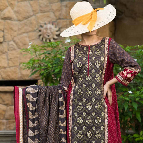 Ayesha Alishba Cambric Embroidered 3 Piece Un-Stitched Cotton Suit - 611-B