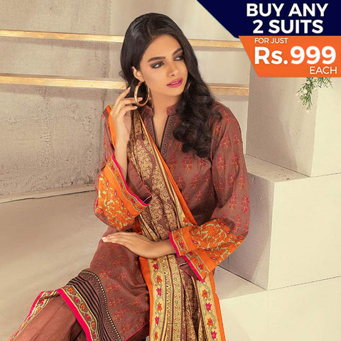 Rangreza Printed Lawn 3 Piece Un-Stitched Suit Vol 1 - 18