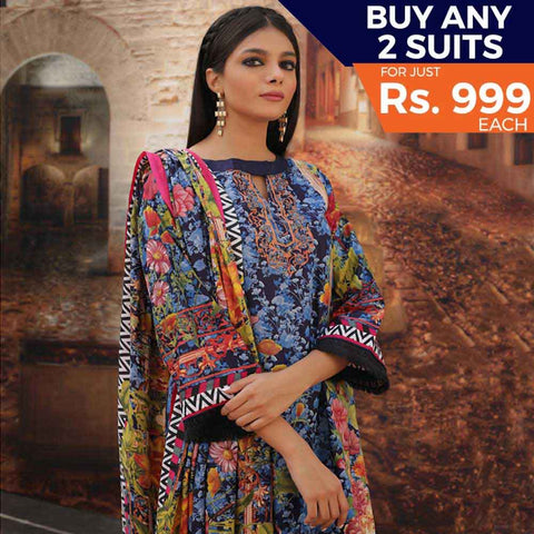 Rangreza Printed Cotton 3 Piece Un-Stitched Suit - 18