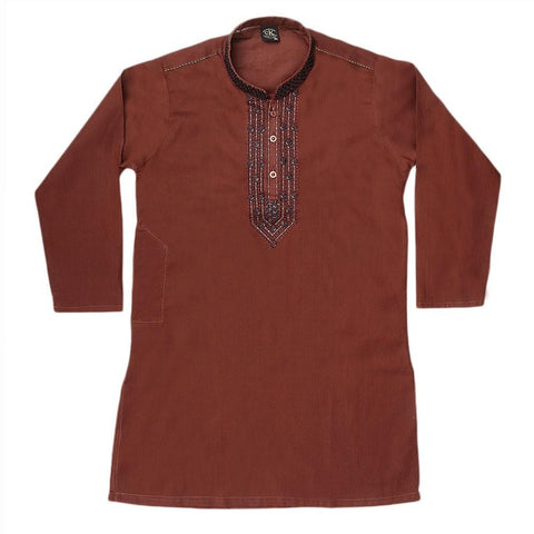 Boys Embroidered Kameez Shalwar - Brown - test-store-for-chase-value