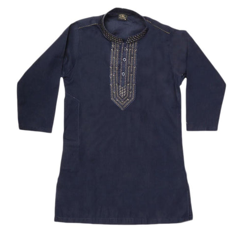 Boys Embroidered Kameez Shalwar - Navy Blue - Navy/Blue - test-store-for-chase-value