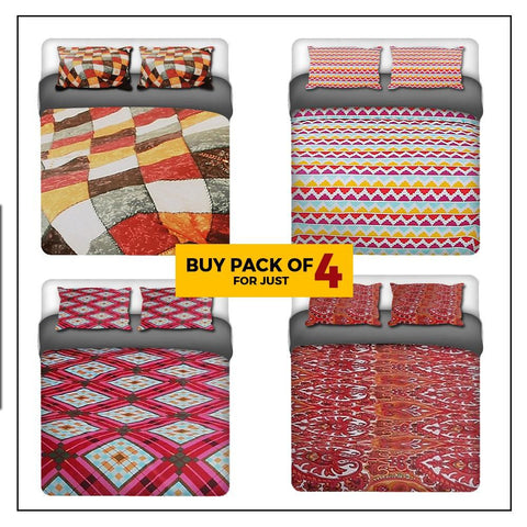 Printed Double Bedsheet Pack Of 4 - Multi - test-store-for-chase-value