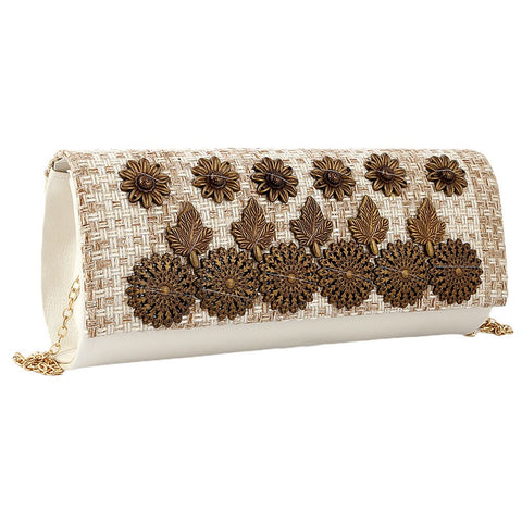 Women's Fancy Clutch 6721 - Off White - test-store-for-chase-value