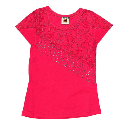 Girls Embroidered Half Sleeve T-Shirt - Pink - test-store-for-chase-value