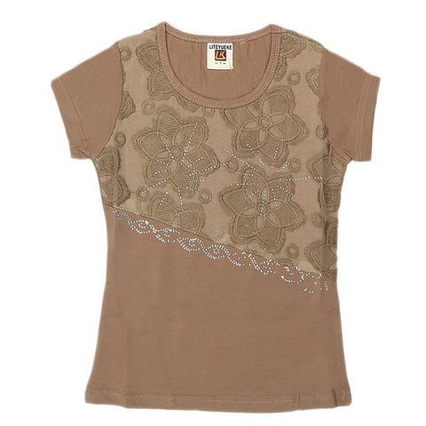 Girls Embroidered Half Sleeve T-Shirt - Brown - test-store-for-chase-value