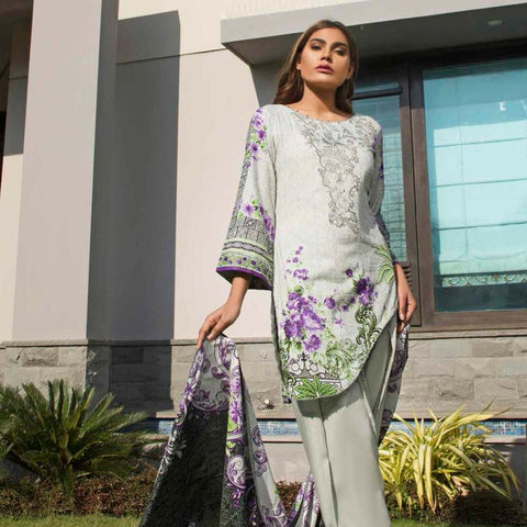 Rangreza Embroidered Lawn 3 Piece Un-Stitched Suit - 2A - test-store-for-chase-value
