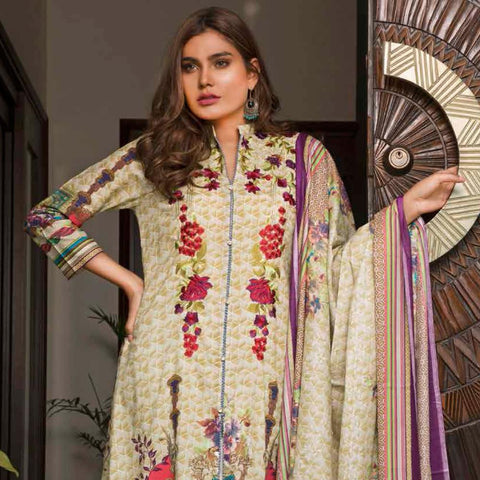 Rangreza Embroidered Lawn 3 Piece Un-Stitched Suit - 4A - test-store-for-chase-value