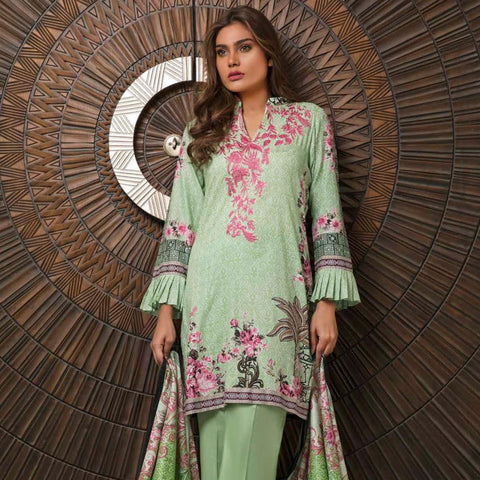 Rangreza Embroidered Lawn 3 Piece Un-Stitched Suit - 2B - test-store-for-chase-value