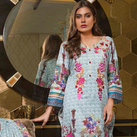 Rangreza Embroidered Lawn 3 Piece Un-Stitched Suit - 4B - test-store-for-chase-value